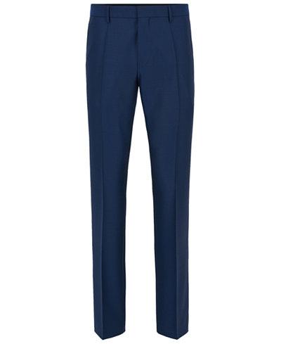 BOSS Men's Slim-Fit Basketweave Virgin Wool Dress Pants