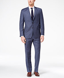 CLOSEOUT! Lauren Ralph Lauren Men's Classic-Fit Ultraflex Blue Plaid Suit
