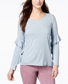 Style & Co Ruffle-Sleeve Burnout Top, Created for Macy's