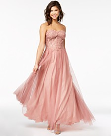 Blondie Nites Juniors' Strapless Embellished Crochet-Bodice Gown