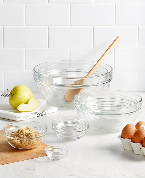 Martha Stewart Collection 10-Pc. Glass Mixing Bowl Set, Created for ...