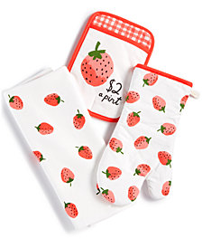 kate spade new york 3-Pc. Strawberry Kitchen Towel Set