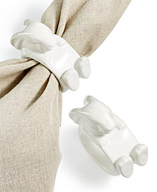 Martha Stewart Collection Set of 2 Figural Bunny Napkin Rings, Created for Macy's