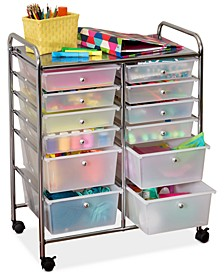 Rolling Storage Cart and Organizer, 12 Plastic Drawers