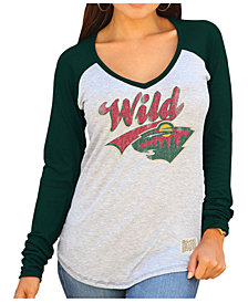 Retro Brand Women's Minnesota Wild Raglan Long Sleeve T-Shirt