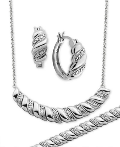 Diamond Accent Twist Hoop Earrings, Collar Necklace and Link Bracelet Set in Silver-Plate
