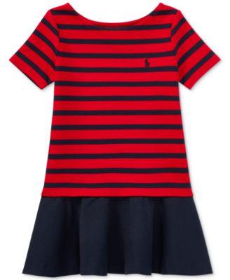 Ralph Lauren Striped Ponté Knit Dress, Toddler Girls