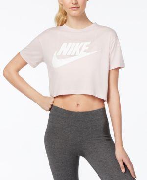 Crewneck Short-Sleeve Graphic Logo Cropped T-Shirt, White/ Black