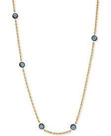 "London Blue Topaz (2-2/3 ct. t.w.) Station 18"" Collar Necklace in 10k Gold"