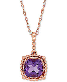 "Amethyst (1-1/3 ct. t.w.) Beaded 18"" Pendant Necklace in 10k Rose Gold"