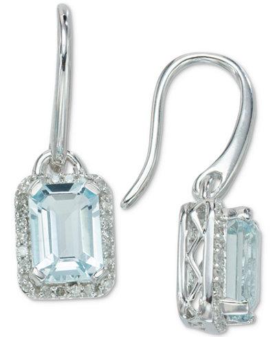 Aquamarine (1-4/5 ct. t.w.) & Diamond (1/8 ct. t.w.) Drop Earrings in 14k White Gold