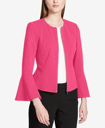 Calvin Klein Bell-Sleeve Zip-Front Jacket, Regular & Petite