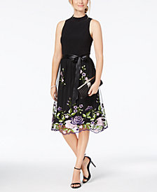 SL Fashions Belted Floral-Embroidered Mock-Neck Dress