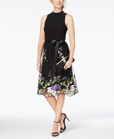 SL Fashions Belted Embroidered Mock-Neck Dress