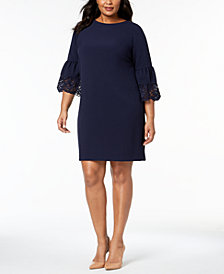 Jessica Howard Plus Size Lace-Trim Dress