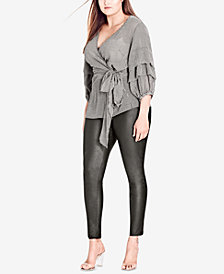 City Chic Trendy Plus Size Ruffled Faux-Wrap Top