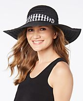 I.N.C. Gingham-Tie Floppy Hat, Created for Macy's