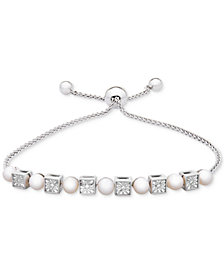 Cultured Freshwater Pearl (4-1/2mm) & Diamond Accent Bolo Bracelet in Sterling Silver