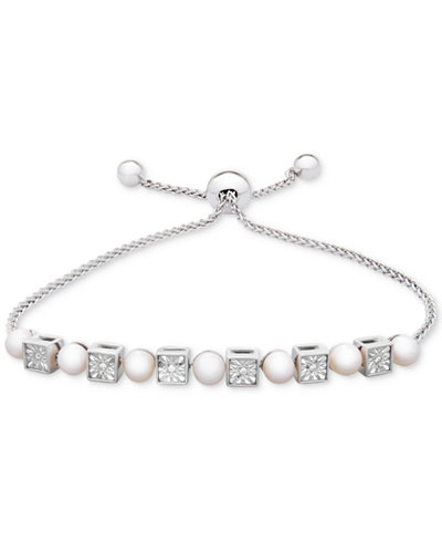 Cultured Freshwater Pearl (4-1/2mm) & Diamond Accent Slider Bracelet in Sterling Silver