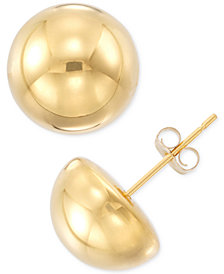 Signature Gold Half Sphere Stud Earrings in 14k Gold or White Gold over Resin, Created for Macy's