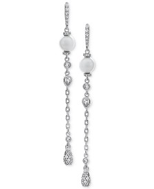 Arabella Cultured Freshwater Pearl (7mm) & Swarovski Zirconia Linear Drop Earrings in Sterling Silver