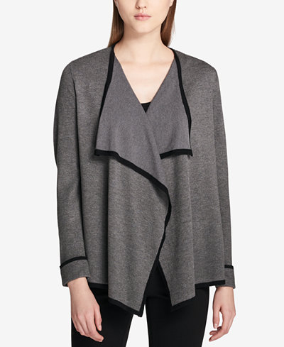Calvin Klein Open Fly-Away Piped Cardigan