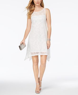Robbie Bee Petite Handkerchief-Hem Lace Dress