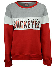 J America Women's Ohio State Buckeyes Tricolor Fleece Sequin Crew Sweatshirt