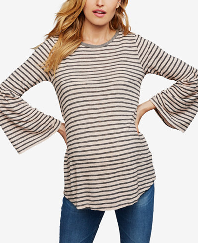 A Pea In The Pod Maternity Striped Bell-Sleeve Top