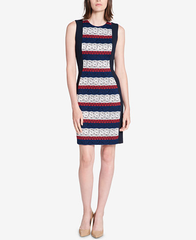 Tommy Hilfiger Striped Lace-Front Sheath Dress