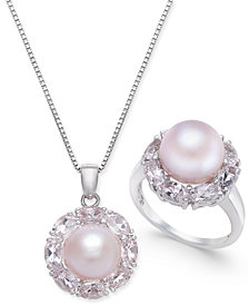 Pink Cultured Freshwater Pearl & Morganite Jewelry Collection in Sterling Silver