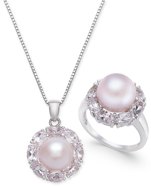 Macy's Pink Cultured Freshwater Pearl & Morganite Jewelry Collection in Sterling Silver