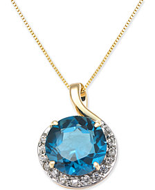 "Blue Topaz (4-3/4 ct. t.w.) & Diamond (1/6 ct. t.w.) Pendant 18"" Necklace in 14k Gold"