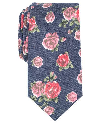 Bar III Men's Douglass Rose Floral Skinny Tie, Created for Macy's