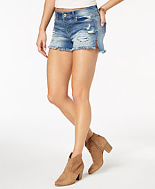 American Rag Juniors' Ripped & Frayed Denim Shorts, Created for Macy's