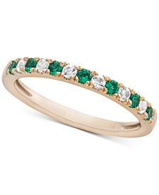 Emerald (1/5 ct. t.w.) & Diamond (1/6 ct. t.w.) Band in 14k Gold (Also available in Sapphire)