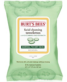 Burt's Bees® Facial Cleansing Towelettes, Cucumber and Sage, 30 Count