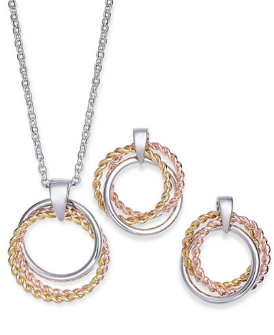 Charter Club Tri-Tone Triple-Circle Pendant Necklace & Drop Earrings Set, Created for Macy's