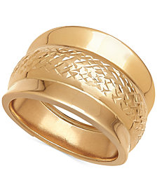 Italian Gold Wide Textured Band in 14k Gold