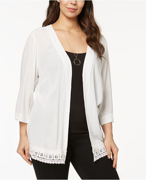 Ny Collection Plus Size Crochet Trim Crepe Cardigan Reviews