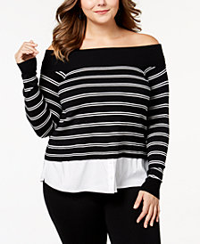 I.N.C. Plus Size Layered-Look Off-The-Shoulder Sweater, Created for Macy's