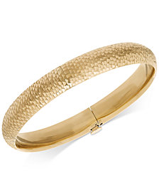 Mermaid Textured Bangle Bracelet in 14k Gold