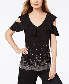 MSK Embellished Cold-Shoulder Ruffle Top