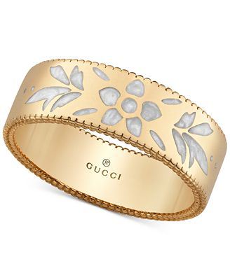 Gucci Icon Blooms Floral Enamel Ring in 18k Gold YBC