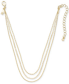 "I.N.C. Gold-Tone Triple-Layer Choker Necklace, 12"" + 3"" extender, Created for Macy's"