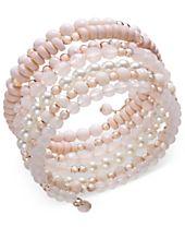 I.N.C. Rose Gold-Tone Beaded Coil Bracelet, Created for Macy's