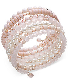 I.N.C. Rose Gold-Tone Beaded Coil Bracelet, Created for Macy's