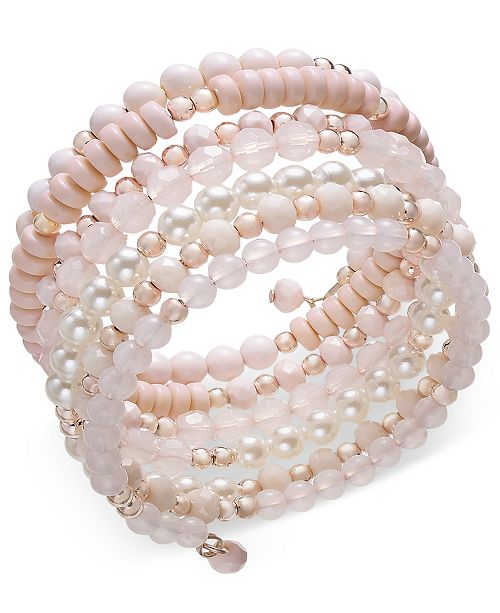 INC International Concepts I.N.C. Rose Gold-Tone Beaded Coil Bracelet, Created for Macy's