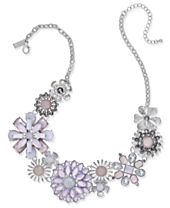"""I.N.C. Silver-Tone Multi-Stone Flower Statement Necklace, 18"""" + 3"""" extender, Created for Macy's"""