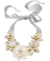 """I.N.C. Gold-Tone Crystal & Imitation Pearl White Flower Velvet Ribbon 42"""" Statement Necklace, Created for Macy's"""